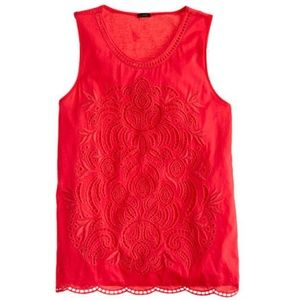 J. Crew Embroidered Eyelet Tank